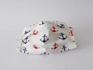 Biele námornícke rúško s kotvami