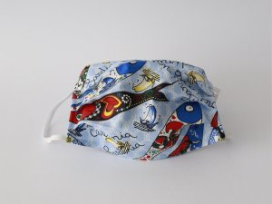 Modré bavlnené rúško s rybičkami