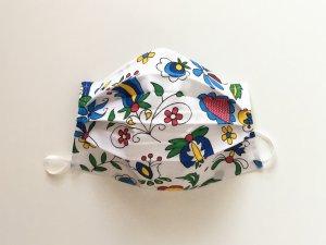 Kvetové bavlnené rúško s ľudovým motívom
