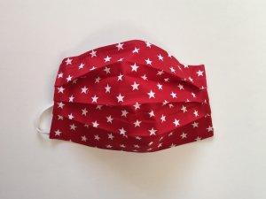 Červené bavlnené rúško s bielymi hviezdičkami (popelín)