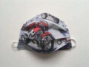 Šedé bavlnené rúško s motorkami