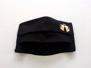 Čierne bavlnené rúško s pivom